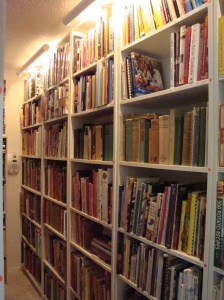 Part of the 2,970 cookbooks in the author's collection (I really use them!)