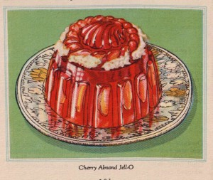 """""""Cherry Almond Jell-O"""", from """"Quick, Easy Jell-O Wonder Dishes"""", 1930, General Foods Corporation"""