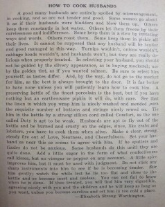 """How to Cook Husbands"", preface by Elizabeth Strong Worthington, from ""Milady's Own Book"""