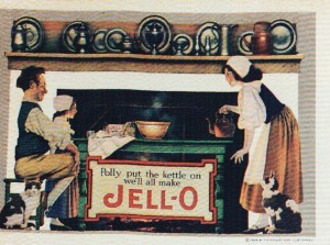 """""""Polly Put the Kettle On We'll All Make Jell-O"""", 1924, The Genesee Pure Food Company.  The illustration was by Maxfield Parrish"""