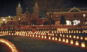 Luminarias in Old Town, Albuquerque, New Mexico, Christmas Eve