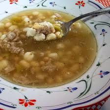 Posole, a traditional Christmas tradition in New Mexico, made with dried hominy
