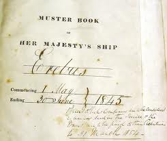 Page from the Muster Book of Her Majesty's Ship, Erebus, 1845