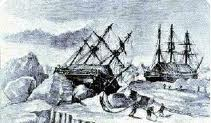 Illustration of HMS Erebus and HMS Terror frozen in the Arctic Ice