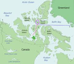 Map showing the approximate location of the voyage of the Franklin Expedition