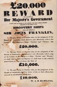 Poster advertising reward for recovery ships to locate the missing Franklin Expedition