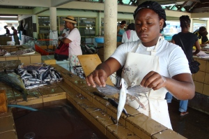 Fish market in Barbados, Caribbean, 2009.  Photo by Sue Jimenez