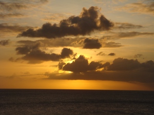 One of a series of stunning sunsets in the Caribbean, 2009.  Photo by Sue Jimenez