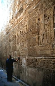 Edfu, Egypt - The Temple of Edfu (with tour guide for scale!)  Photo by Sue Jimenez