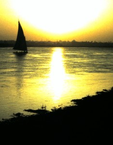 Luxor, Egypt - The Nile at sunset.  Photo by Sue Jimenez