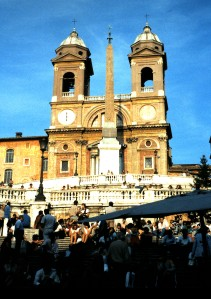 The Spanish Steps and the Church of Trinita dei Monti, Rome, Italy.