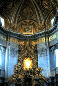 Bernini's Tabernacle, Basilica of St. Peter, The Vatican.  The Tabernacle is 6 stories high and is constructed over the site of the tomb of St. Peter.  Photo by Sue Jimenez