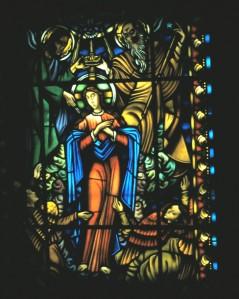 Stained glass window inside the Jeronimos Monastery in Lisbon, Portugal.  Photo by Sue Jimenez