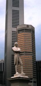 Statue of Sir Thomas Stamford Raffles, Singapore, 1986.  Photo by Sue Jimenez