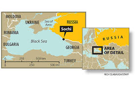 Map of Russia, showing location of Sochi