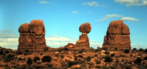 """Balanced Rock"", Arches National Park, Utah, 1997.  Photo by Sue Jimenez"
