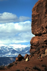La Sal Mountains, viewed from Arches National Park, Utah, 1997.  Photo by Sue Jimenez