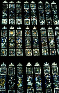 Stained glass window inside Canterbury Cathedral, London, England, 1988 (Photo by Sue Jimenez)