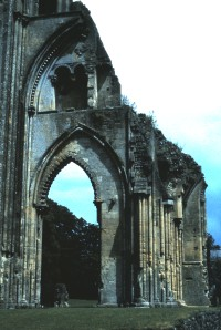 The ruins of Glastonbury Abbey, Somerset, England, 1988.  The tomb of King Arthur lies here (Photo by Sue Jimenez)