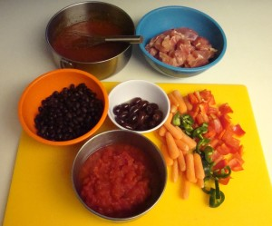 "The ingredients for ""Hearty Chicken 'n' Bean Stew"""