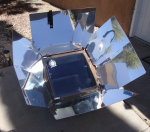 The solar oven set up at 1:15 pm (MST) to 'preheat'
