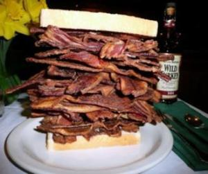 Bacon lover's sandwich.  Have a doctor standing by.  (Photo Credit:  www.uncyclopedia.wikia.com)