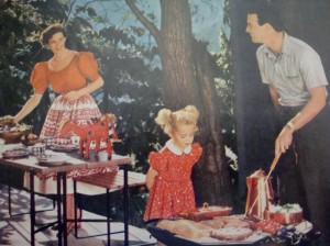 In the old days, women made the potato salad and men bonded with their barbeques.  That's just the way it was (Photo Credit:  Better Homes & Gardens, Barbecue Book, 1956)