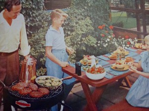 Proper dress for a backyard barbeque (Photo Credit:  Better Homes & Gardens Barbecue Book, 1956)