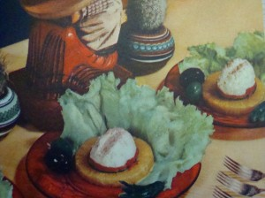 """Sombrero Salad"" from ""Mexican Cookery for American Homes"" by Gebhardt's (1949) Very authentic Mexican, yes?"