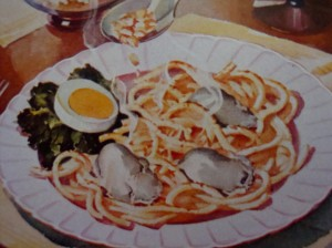 """Spaghetti Surprise"" (the surprise is oysters, which look more like small gray mice to me) (Photo Credit:  The Jean Rich Cook Book)"