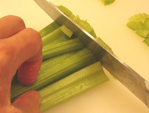 Chop the celery, carrot, green pepper and onion to a fairly small dice