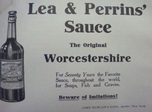"""Ad in the November, 1906 issue of """"Table Talk"""" admonishing the buyers of Lea & Perrins' Sauce to """"Beware of Imitations!"""""""
