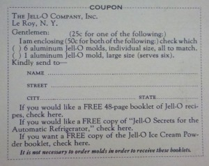 "Coupon from the back of ""Quick Easy Jell-O Wonder Dishes"", 1930.  Such a deal!"