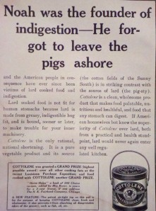 """Ad in the November, 1906 issue of """"Table Talk"""", hailing the merits of """"Cottolene"""" shortening."""
