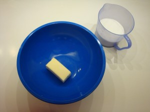 1/4 pound butter or margarine and 2 cups sugar
