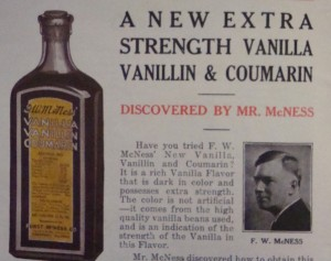 """Ad for """"Vanilla Vanillin & Coumarin"""" From F.W. McNess Cook Book, probably circa 1930's"""
