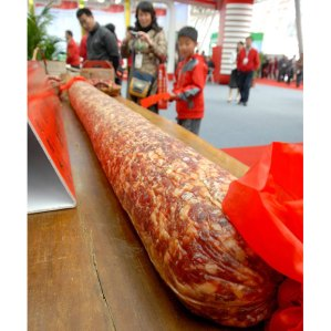 World's largest salami, shown at a Chinese agricultural fair (Photo Credit:  www.telegraph.co.uk)