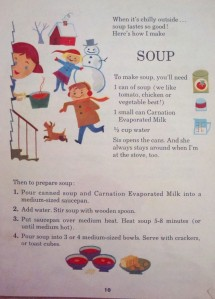 "How to cook ""Soup"" from ""Fun to Cook Book"" by The Carnation Company, 1955"