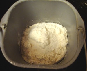 Now the dough ingredients are added to the sponge the next morning