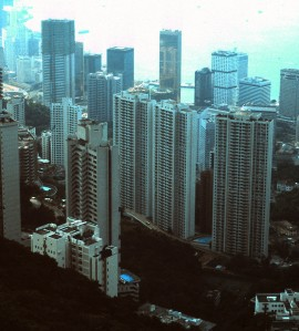 Hong Kong and Kowloon, viewed from the top of the peak tram, 1986 (Photo by Sue Jimenez)