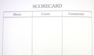 """""""Scorecard"""" pages at the back of """"The Male Chauvinist's Cookbook"""" by Cory Kilvert"""