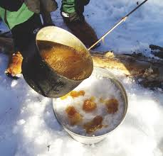 At most maple syrup producing farms, a special treat is boiled syrup poured over fresh snow! (Photo Credit:  www.en.wikipedia.org)