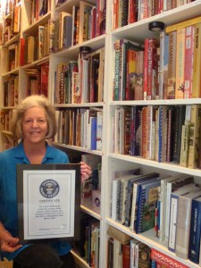 Sue Jimenez, current Guinness World Record Holder for Largest Collection of Cookbooks (photo courtesy of the author)