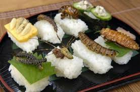 "Is there really a difference between serving raw fish and raw insects on sushi rice?  My brain says ""no"", but my eyes say ""yes!"" (Photo Credit:  www.huffingtonpost.com)"