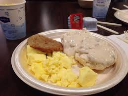 A welcoming breakfast of scrambled eggs, sausage and a couple of biscuits smothered in pale gravy.  Yum (Photo Credit:  www.tripadvisor.com)
