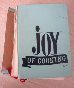 My bedraggled Joy of Cooking, given to me as a wedding gift in 1972 and still around my kitchen (Photo Credit:  Sue Jimenez)