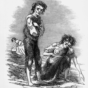 This illustration from 1846 shows a starving boy and girl raking the ground for potatoes during the Irish Potato Famine, which began in the 1840s. (Photo Credit:  galleryhip.com)