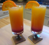 """Now, after letting the syrup cool, enjoy an """"Arizona Sunset"""" made with freshly made Prickly Pear Syrup!"""
