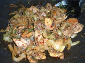 Will Roger's had a version of Chicken Livers and Mushrooms, like this (Photo Credit: www.food.com)