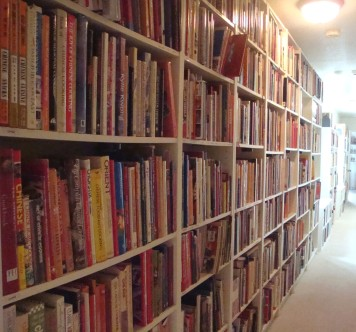 """The Great Hall"" of cookbooks in my residence."